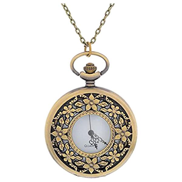 Bayan Antik Bronz Renk Yuvarlak Pocket Watch Hollow Çiçek Link Zinciri ile Oyulmuş 80 cm