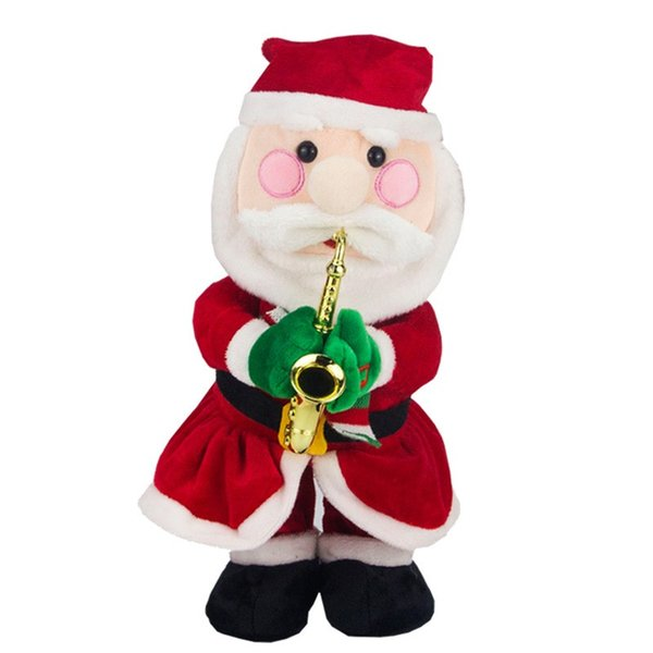 Cartoon Electric Toys Santa Claus Elk Snowman Hat Plush Toy For Christmas Home Decorations Music Doll Novelty 37ll BB