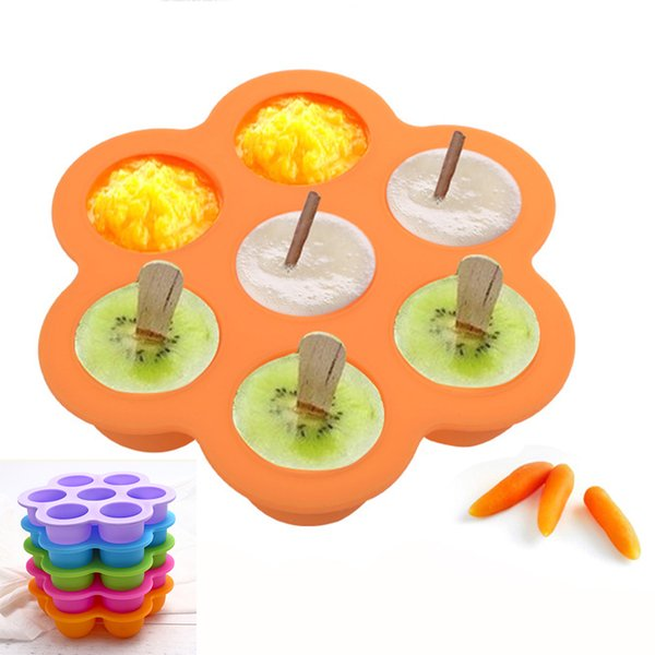 7 Holes Silicone Egg Bite Mold Baby Food Storage Container Fruit Ice Cube Ice Cream Maker Kitchen Bar Drinking Accessories Muffin and Jelly