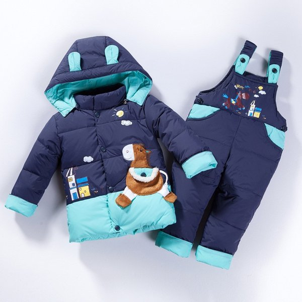 2018 Children winter Down Kids suit animal horse Overalls Baby Girl boy Warm Snowsuit hooded coat Jackets+bib pants Clothes set