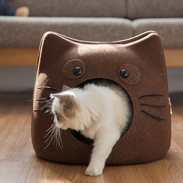 Kedi Uyku Tulumu Sevimli Karikatür Kedi Şekli Pet House Bez Hissettim Dört Mevsim Çıkarılabilir Fermuar Kedi Mağara Yatağı