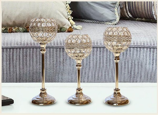 Cup shape Modern Iron Crystle candle holder, 1-arm candelabra with 1 free candles, decorative candle stick CD03