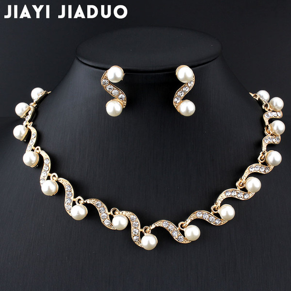 whole salejiayijiaduo African bridal gold-color jewelry set imitation pearl for women necklace earring set wedding gift party dropshipping