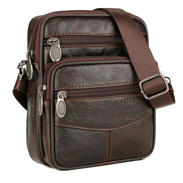 2018 New Fashion Men Shoulder Crossbody Bag Zipper Vintage Briefcase Durable For Mobile Phone Business 99 LXX9