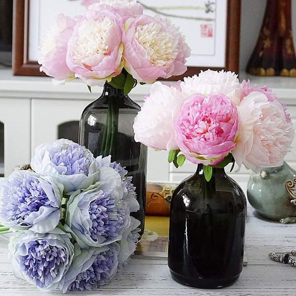 6PCS/Lot Seven Head Peony Bride Bouquet Simulation Rose Flower Home Photography Wedding Decoration Fake Flower