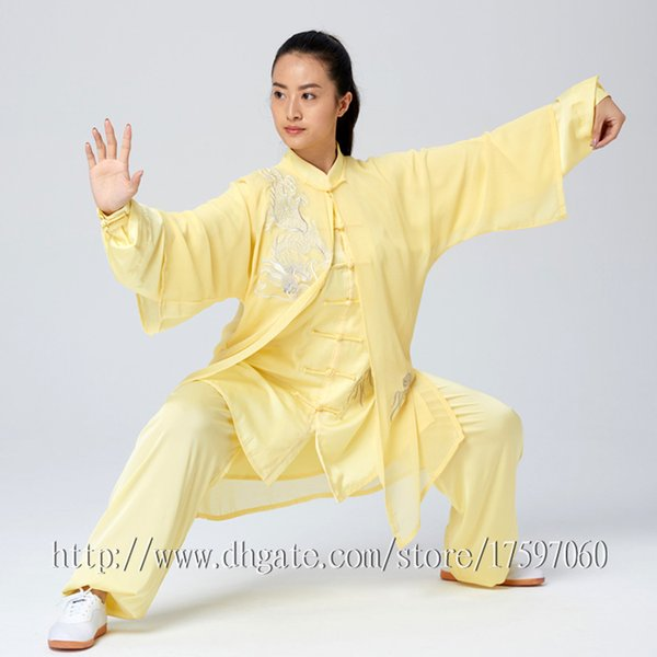 top popular Chinese Tai chi garment Kungfu uniform taijiquan suit outfit Dragon Embroidery clothes for women men girl boy children adults kids 2020