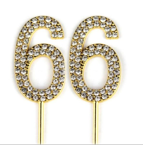 Number 66 Cake Topper 66th Baby Birthday/Wedding Anniversary Cupcake Topper Gold Alloy/Meta with Glitter Crystals Cake Decorati35