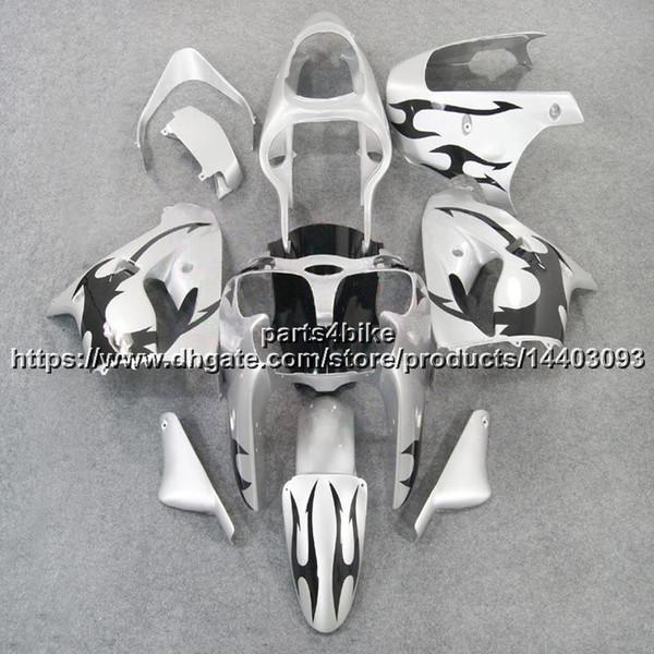 23 farben + 5 Geschenke schwarz flammen + silber motorrad Verkleidung Für Kawasaki ZX9R 2002 2003 02-03 ZX 9R ABS kunststoff Body kit