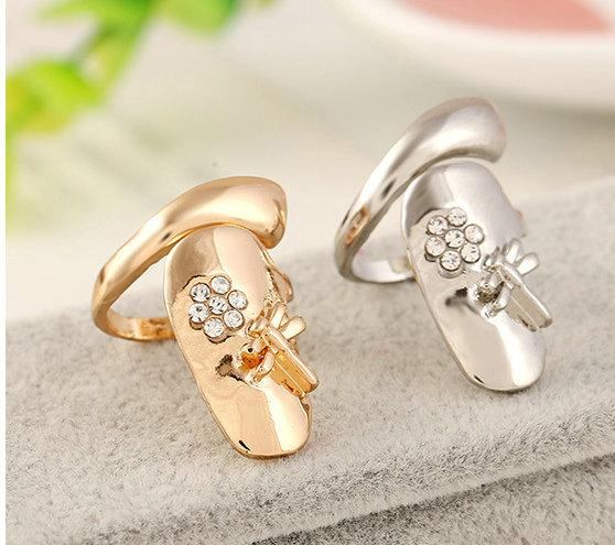 10pcs/lot Stylish personality Rhinestone Plum Snake Gold/Silver Ring Finger Nail Rings