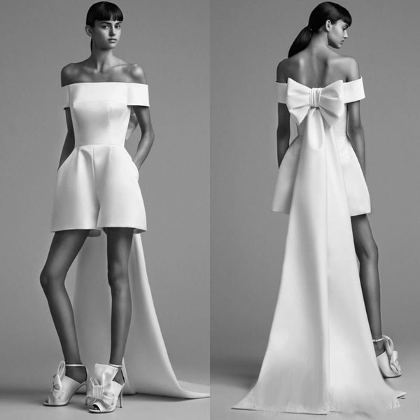 2018 Fashion Prom Dress High Quality White Satin Short Jumpsuit With Big Bow Wrap Design Sexy Off Shoulder Evening Gowns