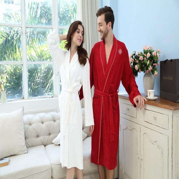 649714f6b592 Пара кимоно халат хлопок вязаный халат любителей ночная рубашка легкий  Бесплатная доставка