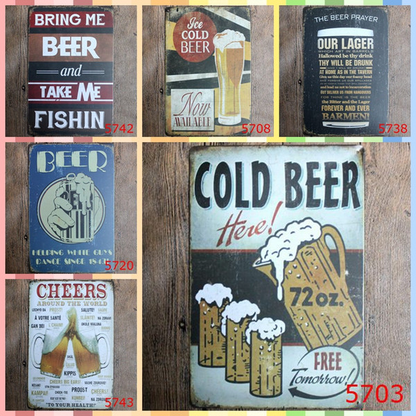 COLD BEER 20*30cm Wall Art Metal Tin Signs Christmas Gifts Luxury Home Decor Posters Arts and Crafts Bedroom Wall Decorations