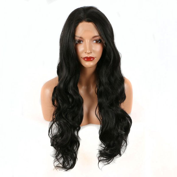 180% Density Black Layered Body Wave Synthetic Lace Front Wig Heat Resistant Fiber Natural Hairline For Women Wigs