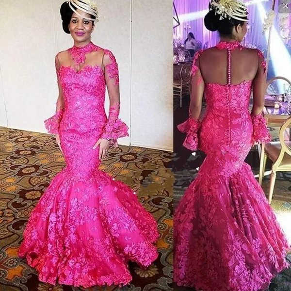 Fuchsia Mermaid Evening Dresses High Neck Long Sleeves Lace Prom Dress Plus Size Sheer Neck Aso ebi African Women Cocktail Party Gowns