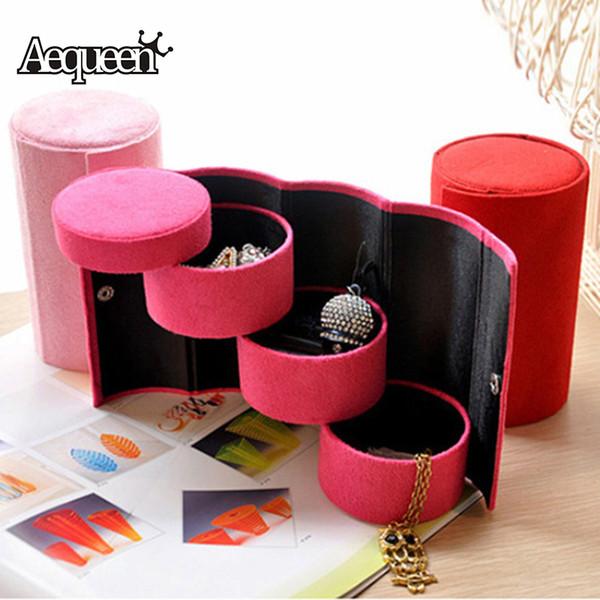 AEQUEEN Rosa 3 Schichten Runde Schmuck Aufbewahrungsbox Zubehör Kosmetische Fall Für Halskette Ohrring Make-Up Veranstalter Container Box
