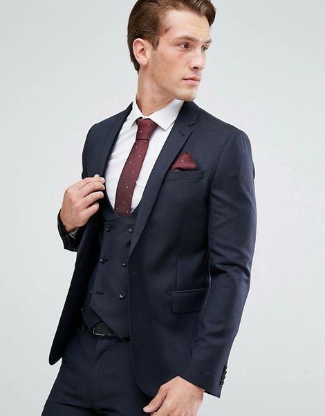 Handsome Black Mens Suits Slim Fit Custom Made Groomsmen Wedding Tuxedos For Men Blazers Plus Size Prom Suit (Jacket+Vest+Pants)