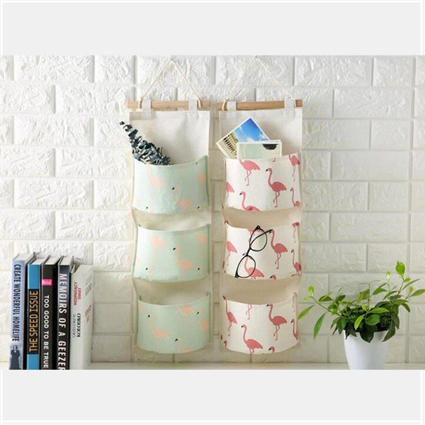 Flamingo Printing Cotton Storage Bag 3 Pocket Wall Mounted Wardrobe Hang Bag Wall Pouch Cosmetic Toys Organizer Stationery Container
