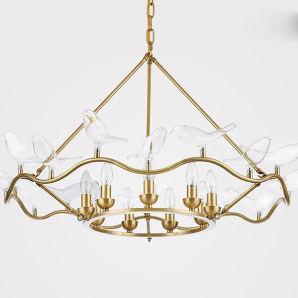 American Copper chandelier Lámpara LED Pájaros Transparentes de dos pisos Suspensión Sala de estar Decoración Colgante Iluminación para el hogar G240