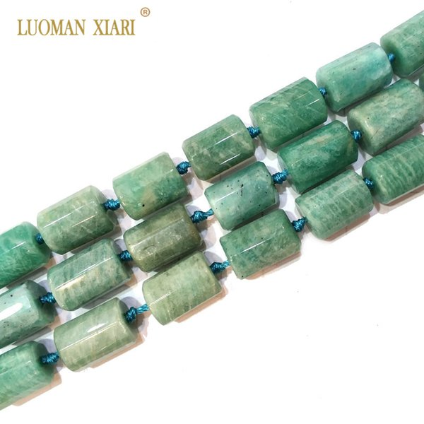100% Natural Amazonite Cylindrical Shaped Facted Stone Beads For Jewelry Making DIY Bracelet, Necklace Size 11*16 mm Strand 15""