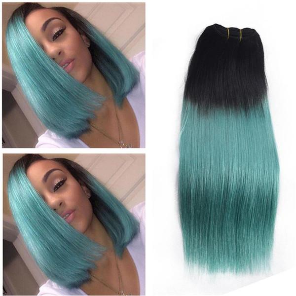 Two Tone Hair Bundles Green Hair Extension Ombre Human Hair Weaves Brazilian Bundles 3Pcs/Lot For Sale