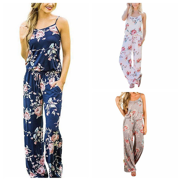 top popular Women Spaghetti Strap Floral Print Romper Jumpsuit Sleeveless Beach Playsuit Boho Summer Jumpsuits Long Pants 3 Colors 3pcs 2020