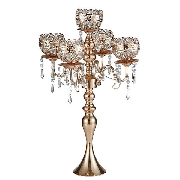 New H63cm Gold 5-Arm crystal candelabra wedding table decor candlesticks decorative candle holder event party decoration