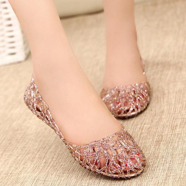 Yeni gelmesi düz kristal jöle ayakkabı melissa kadın cut-çıkışları sandalet flip flop 4 renk