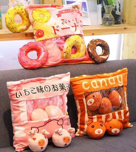 1 stück 40 cm cartoon donut Rilakkuma bär schwein plüsch kissen kissen acht kleine runde puppe stofftier mädchen junge kreative geschenk