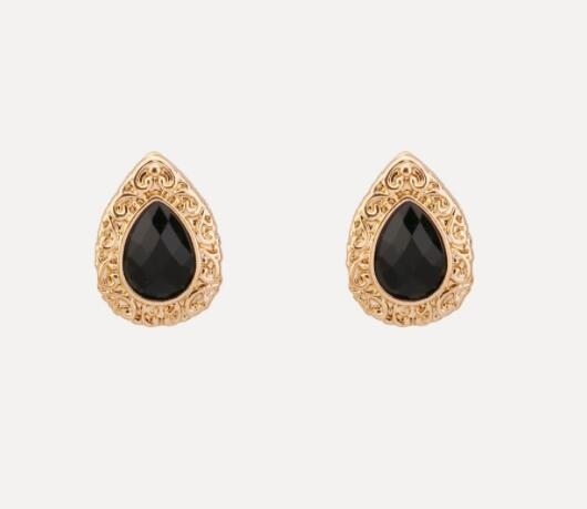 Black Stone Stud Earrings Accessories Fashion Jewelry For Women popular exaggerated elements earrings free shipping vintage jewelry