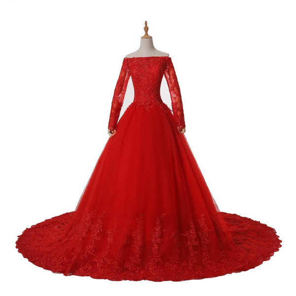 Red Long Sleeve Ball Gown Lace Wedding Dresses With Long Train Princess Appliques Off Shoulder Wedding Gowns For Bride Plus Size Bridal Gown