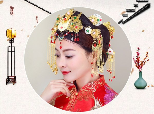 Bridal accessories, bridal headwear, dress, cheongsam, hair plate, wedding dress, Chinese costume (thirteen)