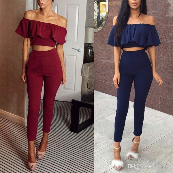 Wholesale- Fashion Crop Top Jumpsuit Pullover Women Pullover oculos Tracksuit Slash Neck Rompers Sexy Stretch Strapless Bodysuit Flounced