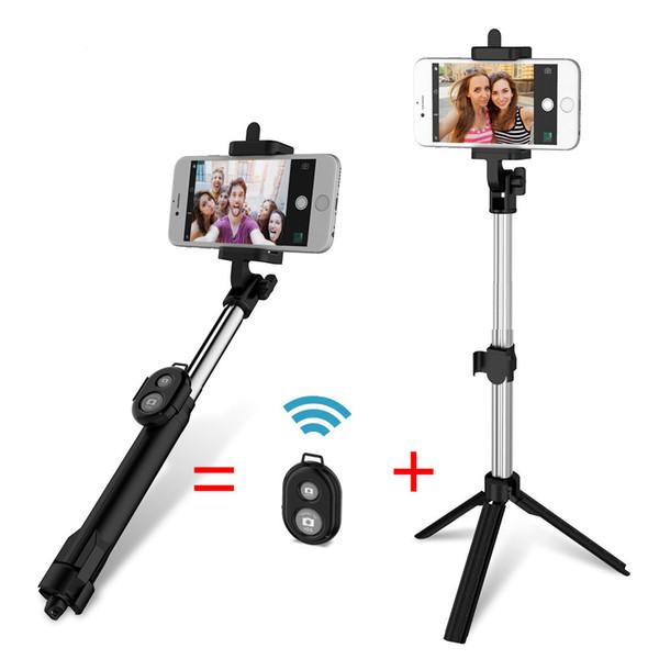 3 en 4 colores Handie Selfie Sticks + Unique Tripod + Bluetooth Remote Photographing para iPhone Android Handheld remoto