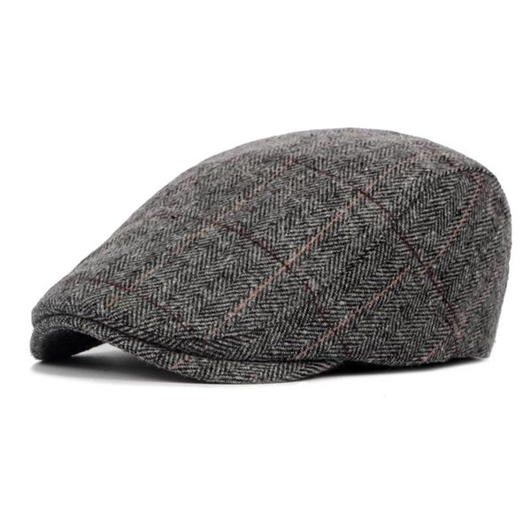 New Autumn Winter Beret Cap Unisex Mens Hat Cotton Striped Beret England British Retro Men Women Woolen Flat Cap Boina Hat