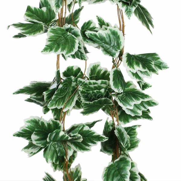 Artificielle Grande Feuille Raisin Blanc Lierre Feuille Guirlande Plantes Vigne Faux Feuillage Fleurs De Mariage Décorations À La Maison 7.5 Pieds 10pcs / Lot