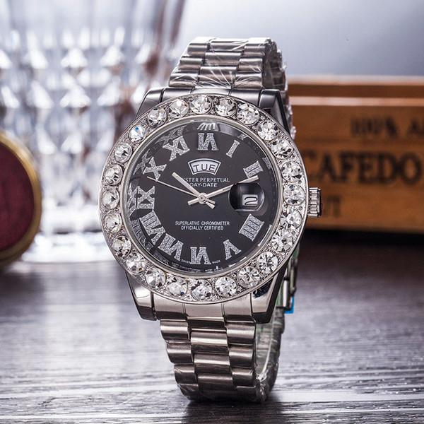 2019 relogio masculino Hombres / Mujeres Reloj Lujoso Elegante Dial con Calendario Pulsera Hebilla Plegable Maestro Regalo de los hombres Hombres de lujo