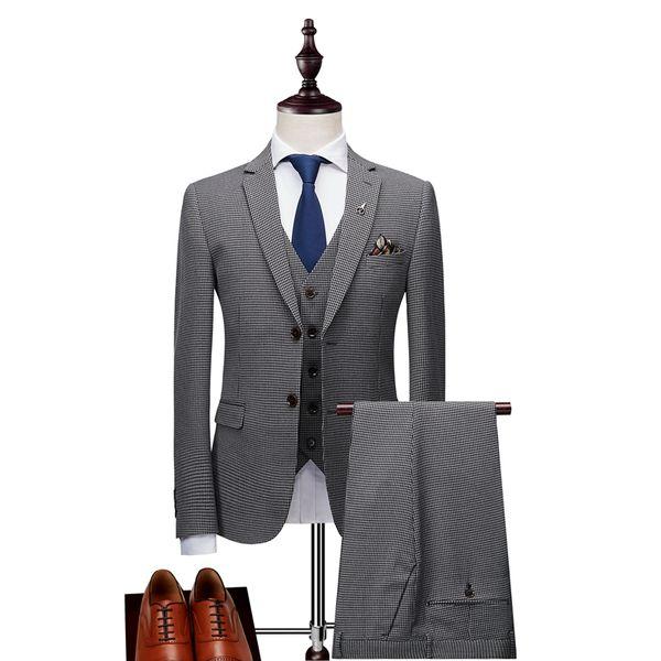 Men suit new stylish slim groom wedding dress upscale business party plaid three-piece suit men suits for wedding suits