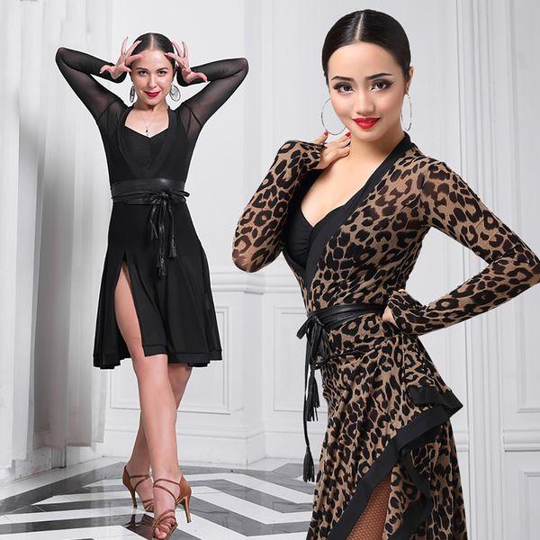 Desconto nova dança latina vestidos para senhoras leopardo impressão manga longa divisão saia plissada mulheres tecido dança tango veste b061