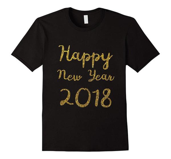 Bonne Année 2018 Or Paillettes Faux Sparkle T Shirt Homme Haute Qualité Été La Nouvelle Mode Pour T-shirt