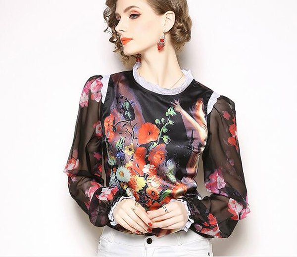Europe and the United States 2018 spring and autumn fashion temperament oil painting printed long-sleeved shirt
