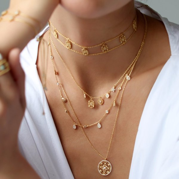 European women gold choker star necklaces geometric Shiny cz JEWELRY fashion design 2018 latest necklace for women and girl