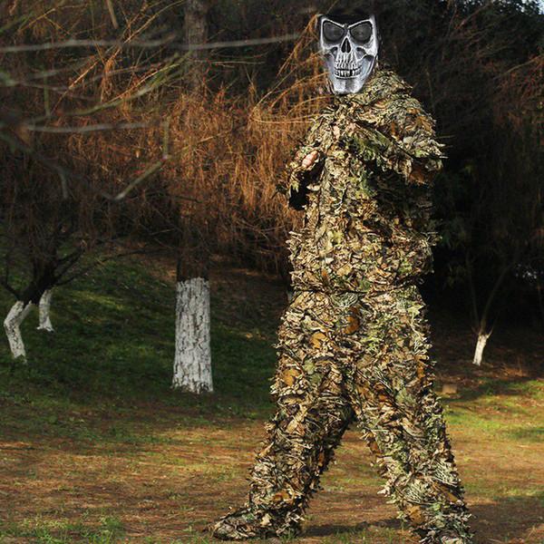 Caça Ghillie Terno 3D Camo Bionic Roupa De Linho Roupas de Caça Camuflagem Jungle Woodland Birdwatching Poncho Roupas