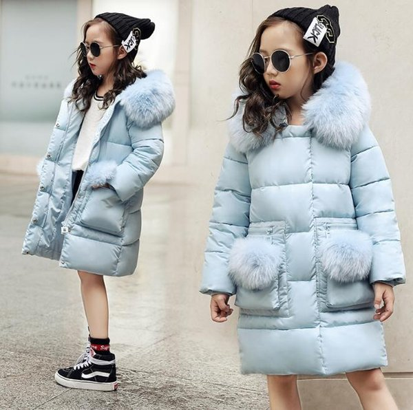 New Winter Jacket Kids Warm Thick Fur Collar Hooded Long Coats for baby girls