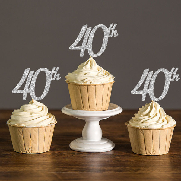 Tremendous 2020 Gold Silver Black Glitter Forty Birthday Cupcake Toppers 40Th Funny Birthday Cards Online Alyptdamsfinfo