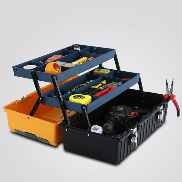 17 inch plastic toolbox with handle tray compartment storage Hammer Pliers Screwdriver hand tool box 42 * 20 * 17.5CM