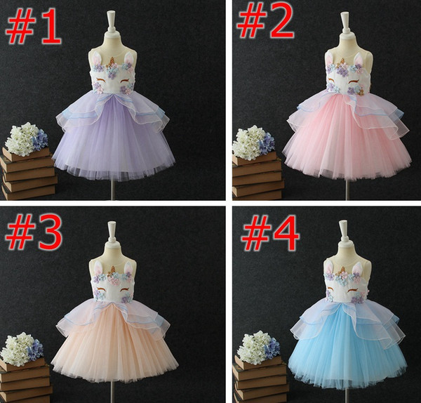 top popular unicorn ins kids Summer party dresses Girls Dresses floral girls Princess Dresses cute birthday kids Party Dress wedding dress Pettiskirt 2020