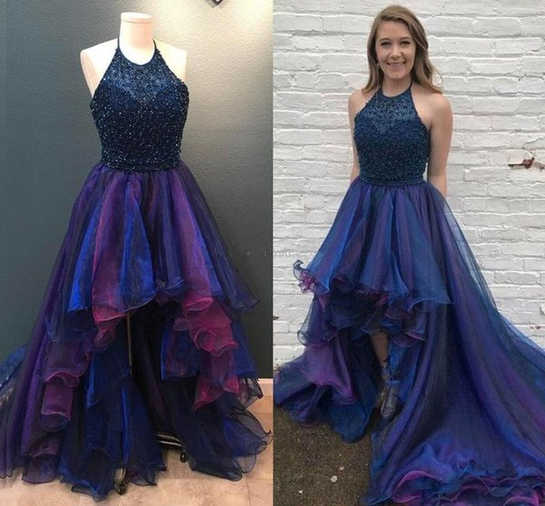 Newest High Low Prom Dresses Halter Sequins Beaded Tiered Organza Skirt Sparkly Backless Party Dresses Graduation Dresses Sweep Train DH4095
