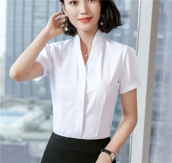 0365a03ea6 Summer Women Blouses & Shirts Short Sleeve Ladies Work Wear Blouse Female Office  Uniform Styles 5
