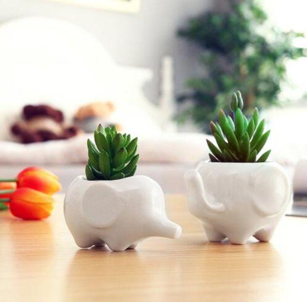Set of 2 Cute Elephant White Ceramic Flower Pot with Tray for Succulents Cactus Plants Mini Pot Planter Home Garden Decoration