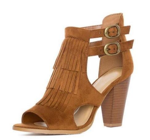 554d6b3a4ea57 Hot Selling Women Sexy High Heel Sandals Leather Buckle Square Heels Shoes  Summer Fringe Party Shoes Peep Toe Sandal